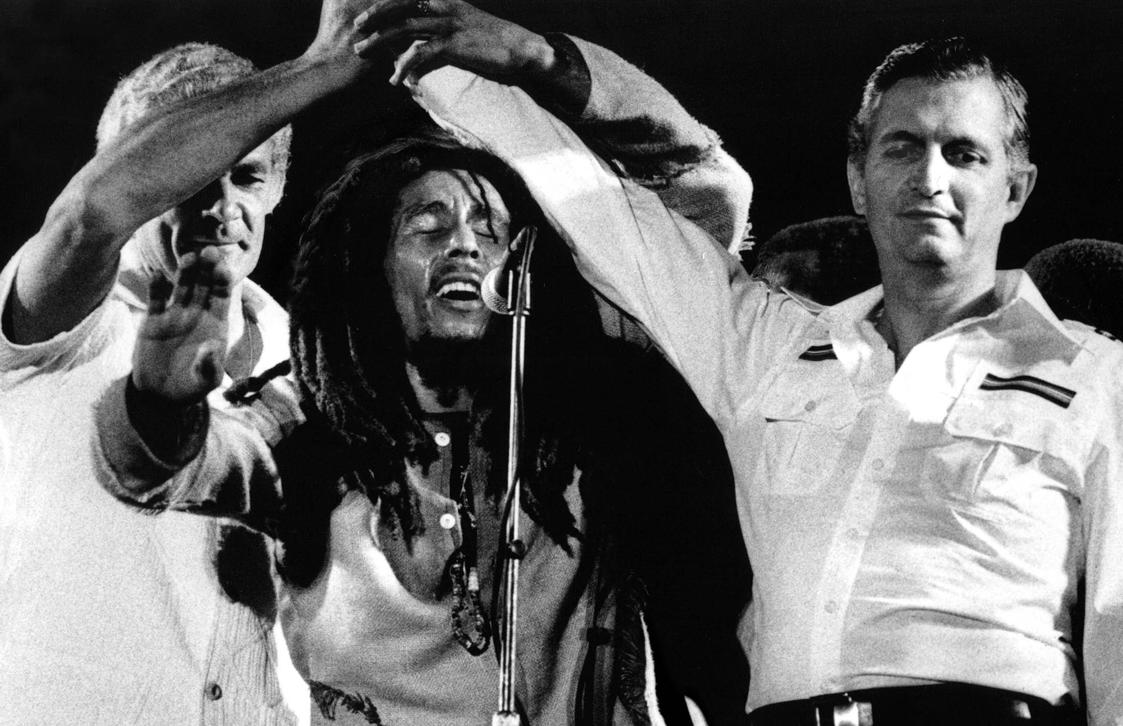 Bob Marley with Micheal Manley
